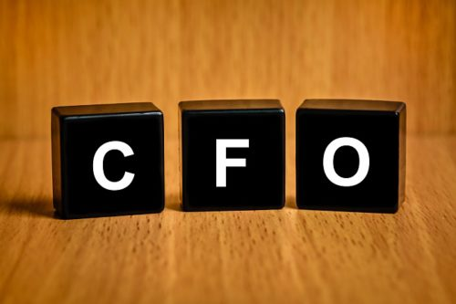 CFO or Chief financial officer text on black block