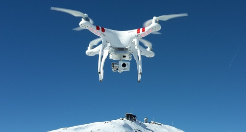 drone over snow mountain big